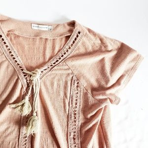 Anthropologie Paper Crane Tassel Top L